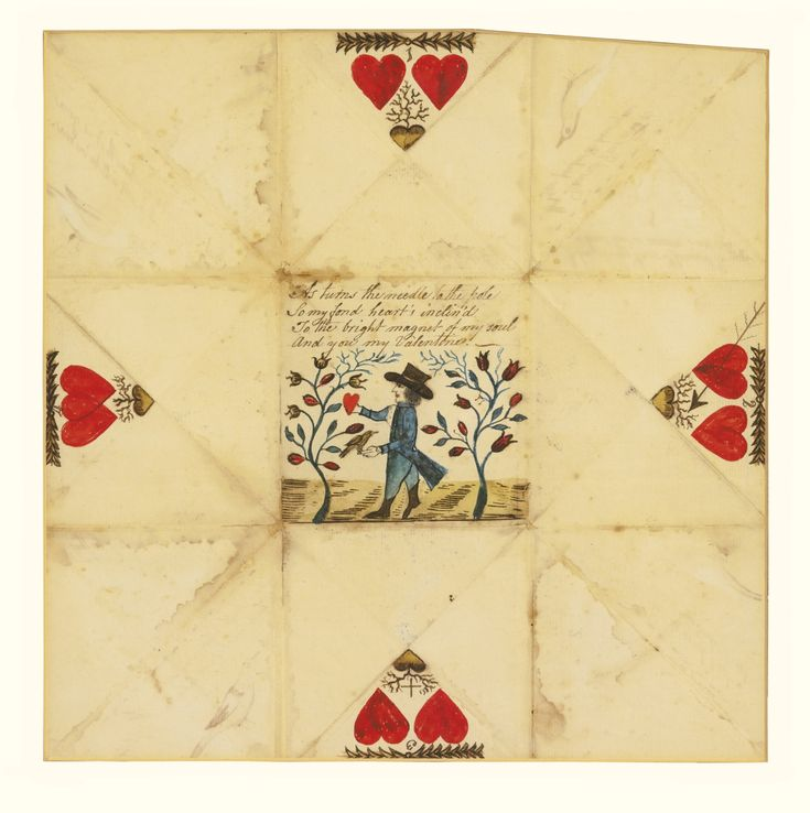 PUZZLE PURSE LOVE TOKEN, PA OR NEW ENGLAND, c.1790-1810. Inscribed recto: As turns the needle to the pole / So my fond heart's inclin'd / To the bright magnet of my soul / And you my Valentine. -/