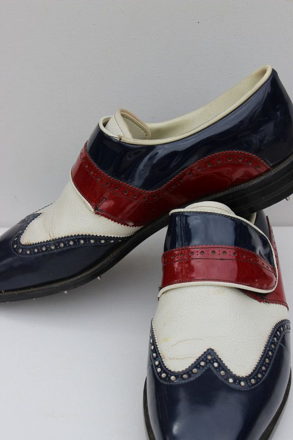 ♂ man's fashion wear Vintage Red White And Blue Mens Golf Shoes Green Joys