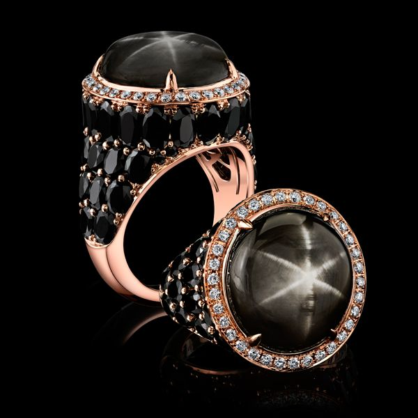 Robert Procop 22ct Black Sapphire Celebration Ring, handcrafted in 18k rose gold