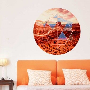 Add style and color to your home, office, or dorm with Our Geometric Desert View Wall Decal. This Decal is a Desert Scene filled Circle with a Geometric Pattern.