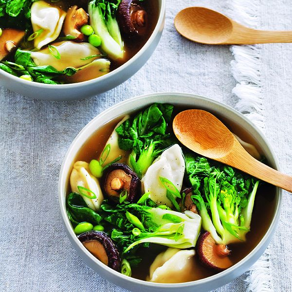This fast, flavourful meal needs less than 10 minutes of simmering to produce an incredibly authentic-tasting broth—use shrimp, chicken or pork dumplings.