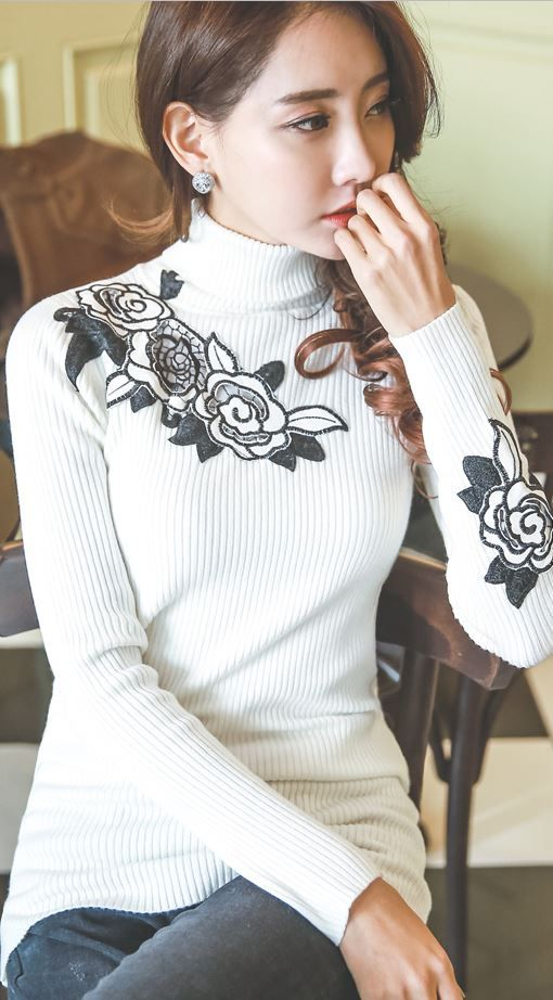 StyleOnme_Rose Embroidered Rib Turtleneck #embroidered #floral #flowery #ribknit #knittop #top #turtleneck