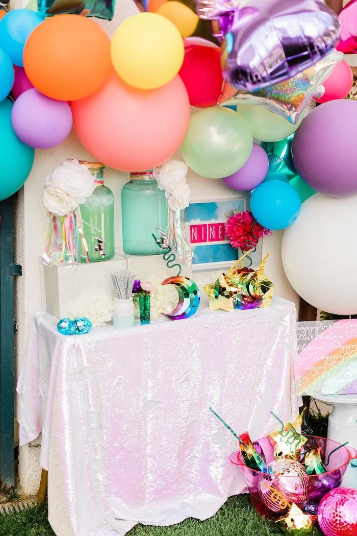 Beverage Table From A Cloud Nine Rainbow 9th Birthday Party On Karas Ideas
