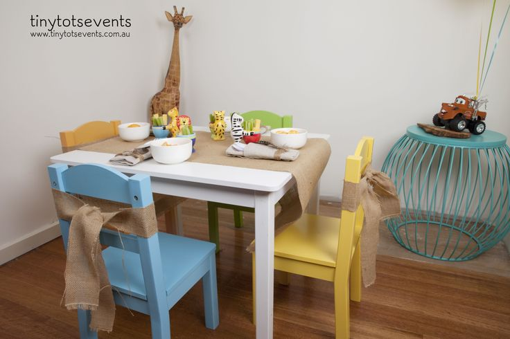 Safari party kids table and chairs - Tiny Tots Events - Melbourne's Little People Parties specialist