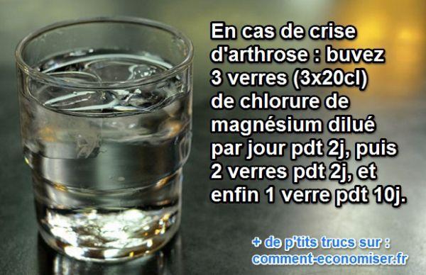 Lors d'une crise d'arthrose, il est possible de soulager un peu les douleurs avec un ingrédient magique, naturel et pas cher. Il s'agit tout simplement du chlorure de magnésium.  Découvrez l'astuce ici : http://www.comment-economiser.fr/chlorure-magnesium-arthrose.html?utm_content=bufferdfd47&utm_medium=social&utm_source=pinterest.com&utm_campaign=buffer