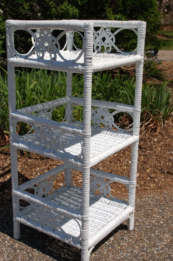 Vintage Ornate Wicker Rattan Scroll Standing 3 Tier Shabby Chic Shelf