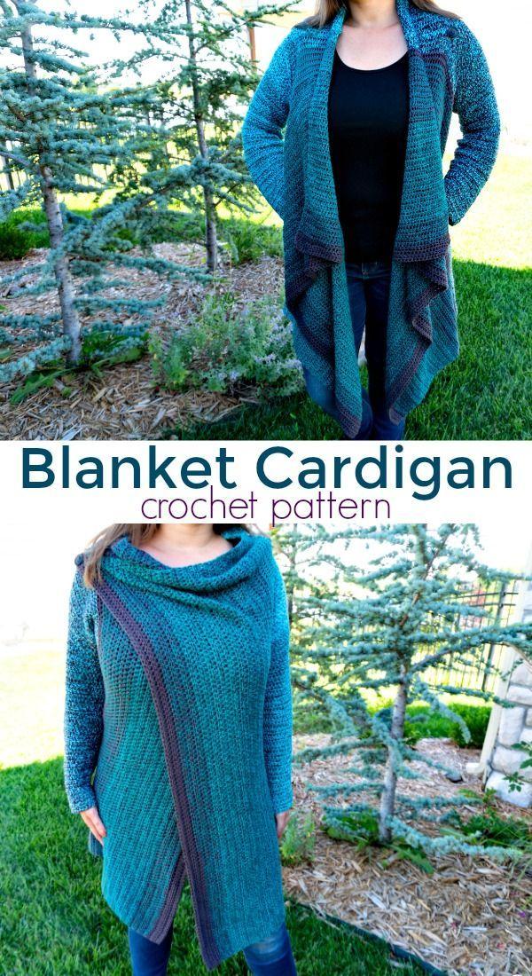 Vertical Blanket Cardigan Crochet Pattern in 2020 | Crochet