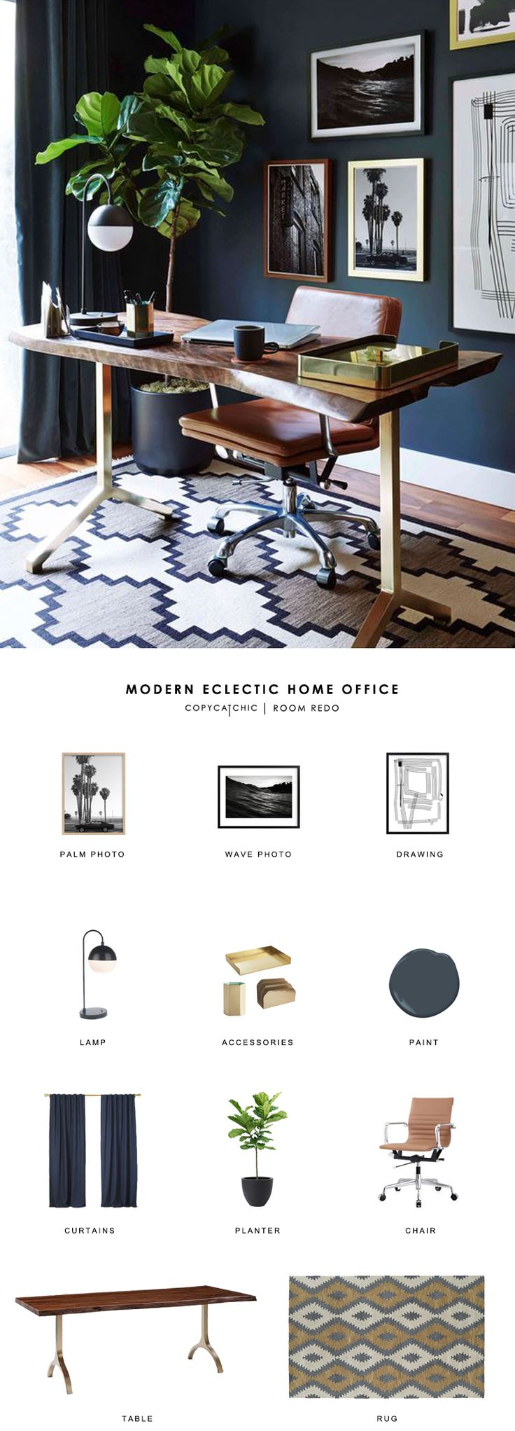 Copy Cat Chic Room Redo | Modern Eclectic Home Office | Copy Cat Chic | Bloglovin'