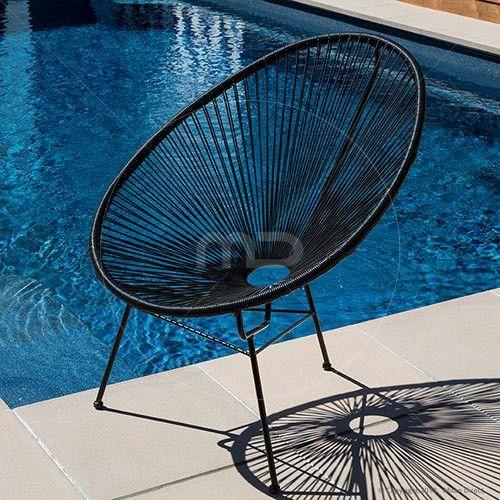 Acapulco Chair Replica - Outdoor Wicker - Black