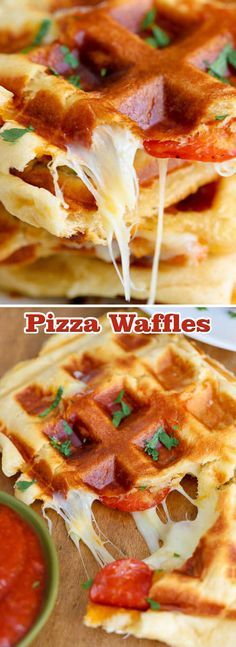 Pizza Waffles 1 package crescent rolls (8 pieces)1⅓ cup mozzarella cheesepepperoni (or your favorite pizza toppings)pizza sauce for dipping