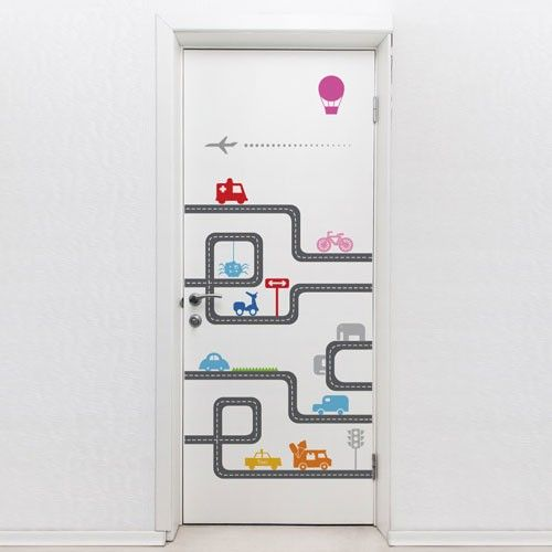 Charming This Door Vinyl Sticker Features A Cartoon Road. Use This Vinyl Decal To  Add A Fun And Decorative Style To Your Door. This Door Decal ...