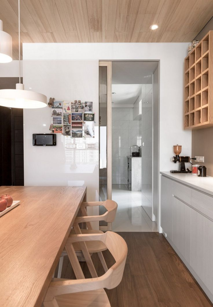 Apartment: White Kitchen Design Ideas Featuring Bright Wooden Dining Table And Chairs Beneath White Pendant Lamp Also Sleek White Kitchen Cabinet On Beige Walls Also Awesome Wooden Ceiling Design Ideas: A Modern Apartment Celebrates the Look of Natural Wood