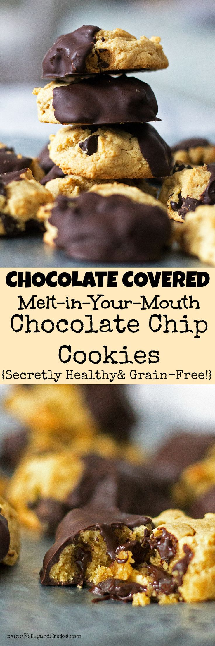 This is the my ALL TIME FAVORITE secretly healthy chocolate chip cookie recipe.These Chocolate-Dipped Chocolate Chip cookies taste like the real thing. In fact, they are so much better (and better for you)! They are soft and moist on the inside thanks to a combination of ingredients that allow them to stay plump and thick. They melt right in your mouth! The best part is that they are dipped in chocolate, because the only thing better than a chocolate chip cookie is a chocolate chip cookie…