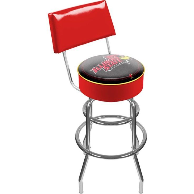 Trademark Games Illinois State Redbirds Padded Swivel Bar Stool with Back, Team