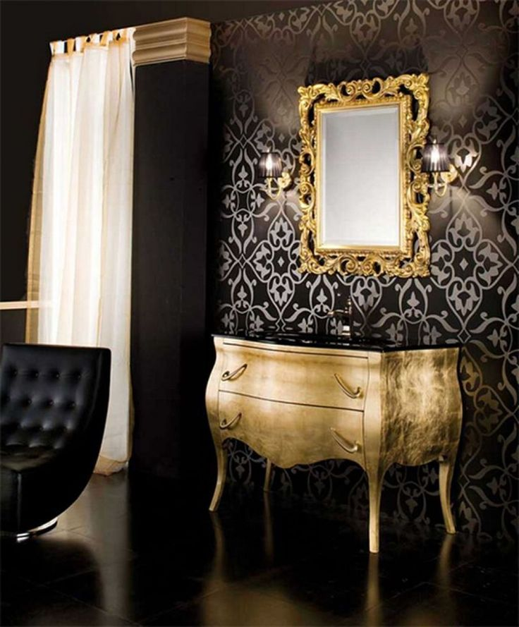 Romantic gold bathroom and gold on pinterest for Gold bathroom mirror