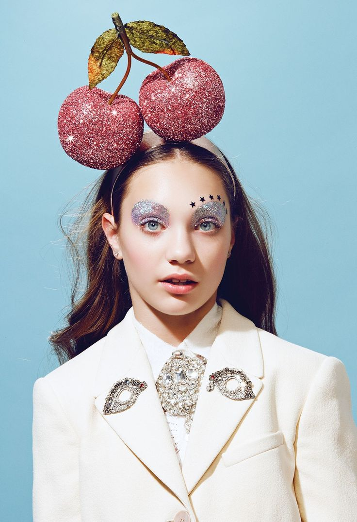 Paper Mag - YOUth Issue. Cherry head piece. Glitter eyes. Star face glitter.