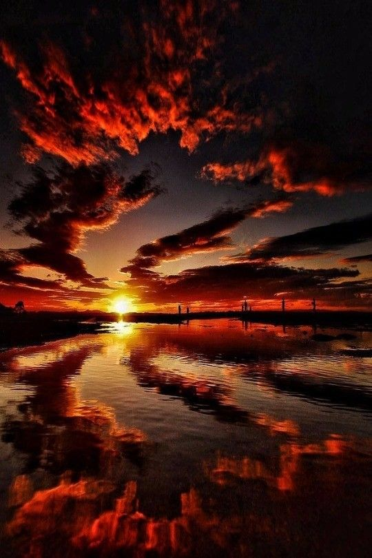 breathtaking red, fiery sunset - nature | life on earth - inspiration - natural - reflection - glow - glowing - photography - beautiful - stunning - sky - clouds - sunsets
