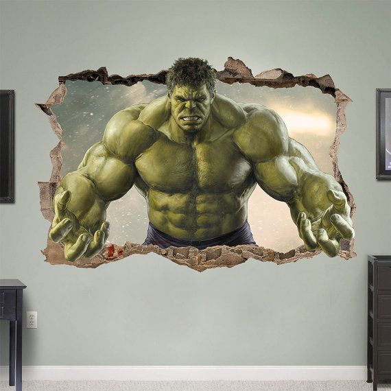 HULK 3d Wall Sticker Smashed Bedroom Green Hero Kids Decor Vinyl Removable  Art DECAL Home Room