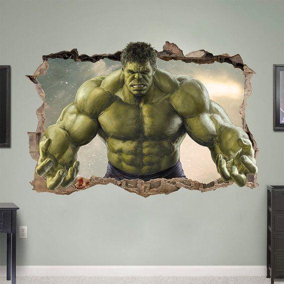 hulk 3d wall sticker smashed bedroom green door on wall decals id=91383