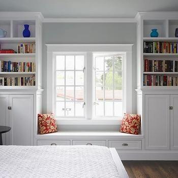 Bedroom Window Seat- Traditional, bedroom, Benjamin Moore Arctic Gray, Mueller Nicholls