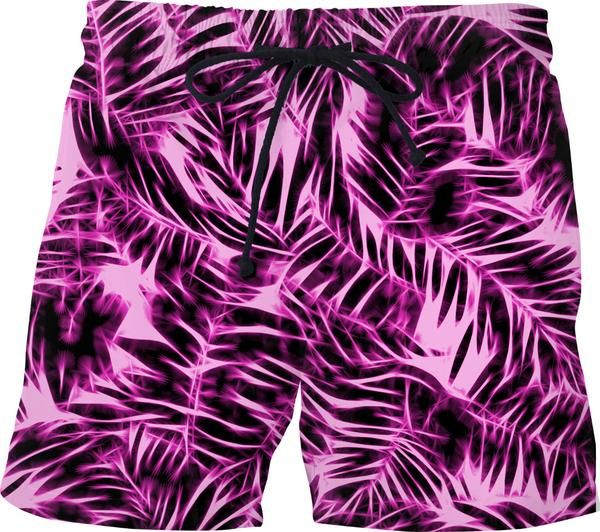 Welcome to the jungle, hawaiian swim shorts, purple short pants, beach style, palm leafs pattern - item printed by www.rageon.com/a/users/casemiroarts - also available at www.casemiroarts.com