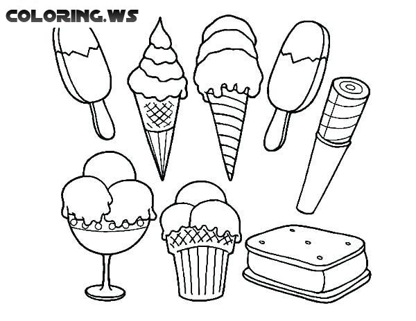 Lots Of Ice Creams Coloring Page Ice Cream Coloring Pages Ice