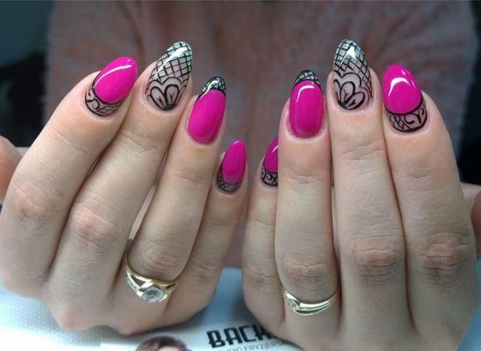 zień dobry Emotikon heart  SPN UV LaQ 626 Back to Fushia SPN Paint Gel Black Devil  Nails by Karolina Su  #SPN #SPNnails #paznokcie #nailart #naildesign #nailsartdesign #rosenails #pinknails #pink #różowe #blackart #czarnewzory #fukcja