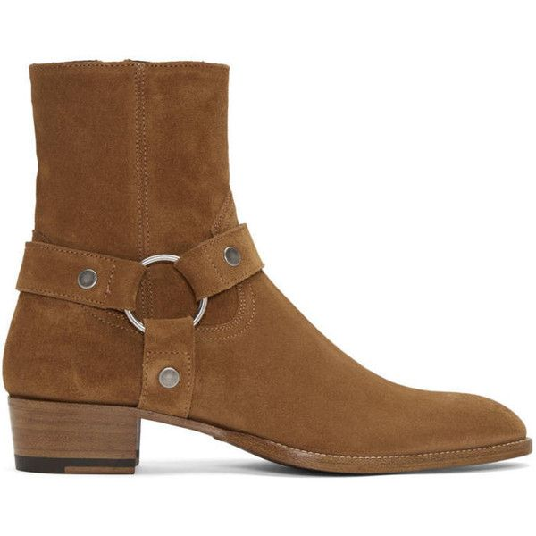 Saint Laurent Tan Suede Wyatt Harness Boots ($735) ❤ liked on Polyvore featuring men's fashion, men's shoes, men's boots, tan, mens cuban heel boots, mens zip boots, mens suede cowboy boots, mens suede shoes and mens suede boots