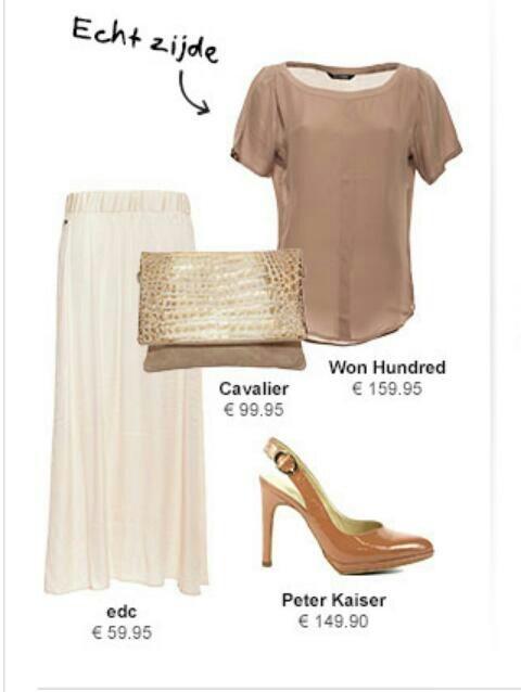 Crème kleurige lange rok gecombineerd met bruin...love fashion