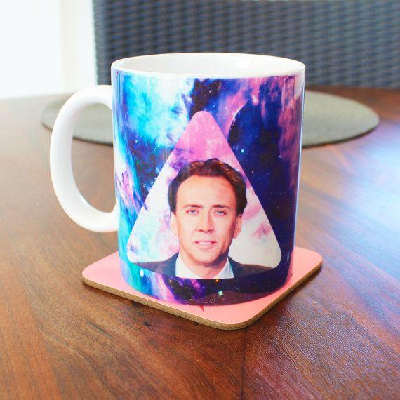 Space Geometric Nicolas Cage Face mug funny mug by Memeskins