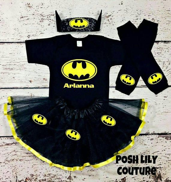 Black and yellow Batman tutu set, Batman baby costume, supergirl toddler Outfit, sparkly Batman birthday baby tutu, Batman tutu