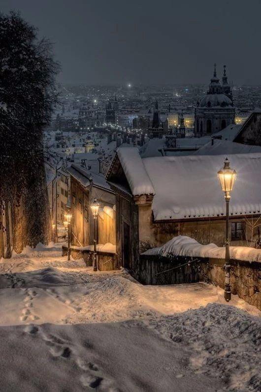 Snowy European Village