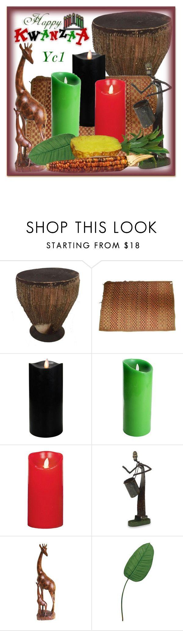 """Habari Gani?-Kwanzaa"" by yc1love ❤ liked on Polyvore featuring interior, interiors, interior design, home, home decor, interior decorating, Boston Warehouse, Luminara, NOVICA and Laura Cole"