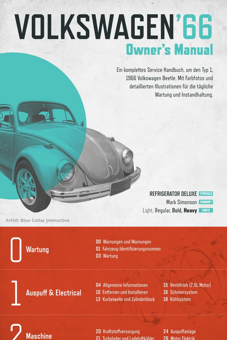 Volkswagen '66 owners manual design comp from Blue Collar Interactive - font family in use is Mark Simonson's Refrigerator Deluxe http://app.webink.com/font/refrigerator-deluxe #font #typography #design