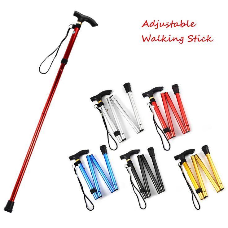 T-handle Ultra-light 4-section Adjustable folding Walking Stick for Hiking, made of Aluminum Alloy