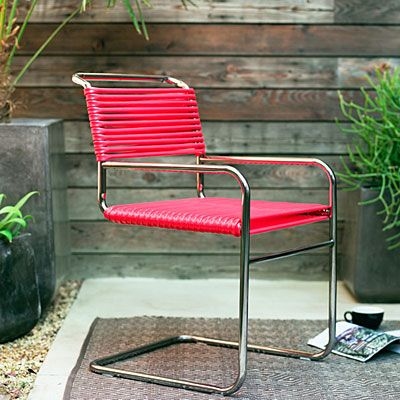 28 DIY salvage makeovers  . . . Before: Garden hose, After: Modern chair . . .   The first time we saw the one-of-a-kind garden chairs that Denver artist Chase DeForest (chasedeforest.com) makes from everyday hoses and custom-welded frames, we fell in love. Sunset Magazine
