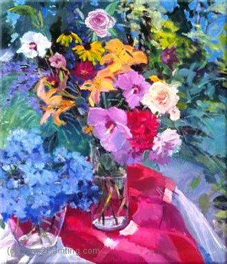 Flower painting impressionistic - painting style impressionistic