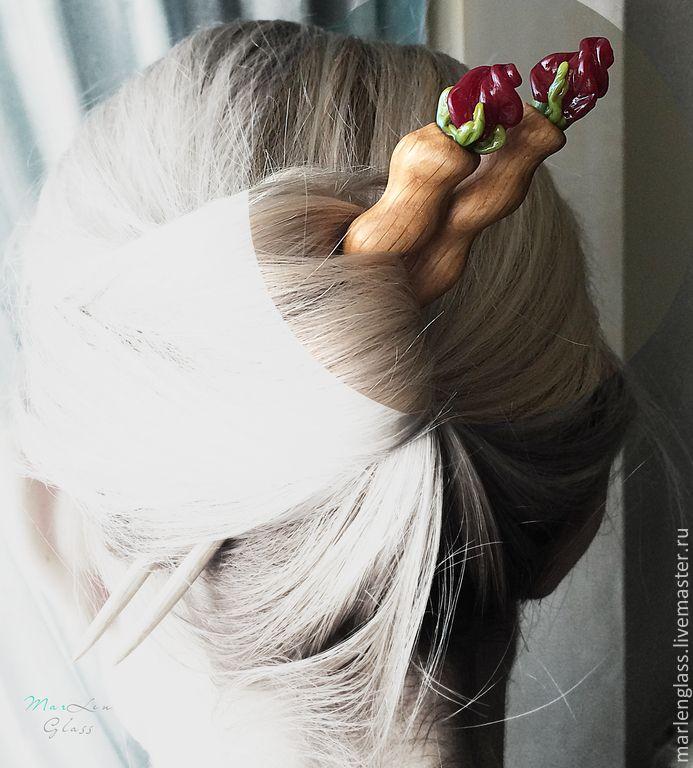 Парные палочки для волос - авторский лэмпворк и дерево ручной работы. Handmade glass and wood, pair of hair sticks, MarLen Glass