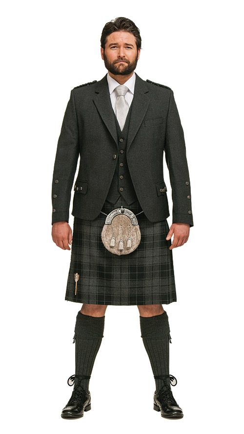 Charcoal Tweed Crail, Grey Slanj Tartan