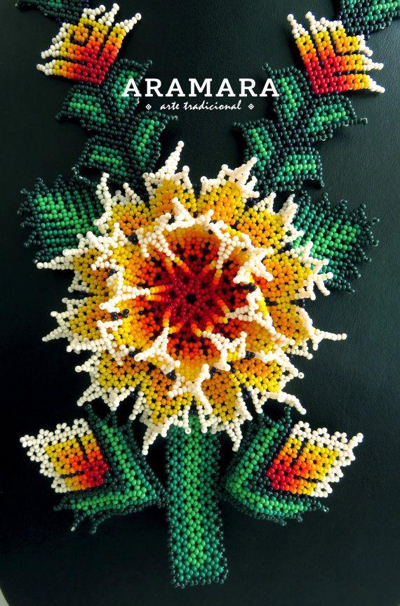 Mexicana Huichol abalorios amarillo flor collar CFG-0038