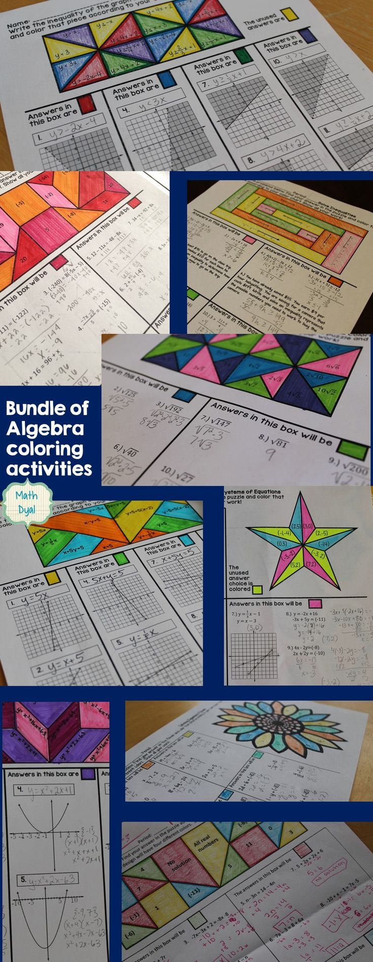 Algebra coloring activities for: solving equations, solving inequalities, graphing lines and linear inequalities, solve systems of equations, simplify radical expressions, and graph quadratics