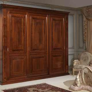 Walnut wardrobe three sliding doors with marquetry, walnut interior, solid wood back. Classic luxury furniture collection 800 francese