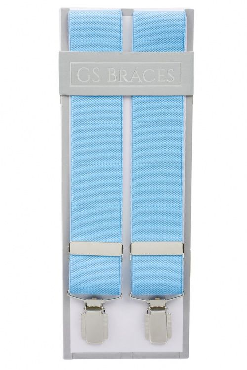 Plain Powder Blue Braces For Trousers With Silver Coloured Feather Edged Clips