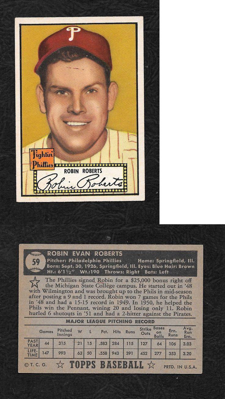 Baseball Cards 213: 1952 Topps Baseball # 59 Hall Of Famer Robin Roberts [Nm] -> BUY IT NOW ONLY: $75 on eBay!