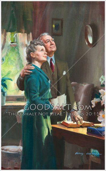 Elderly couple holding Bible and looking upward
