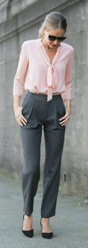 blush pink tie bow neck blouse, high-waisted pleated grey wool pants, classic black ankle strap pumps silver choker http://asc3rc34cea.blogspot.com/