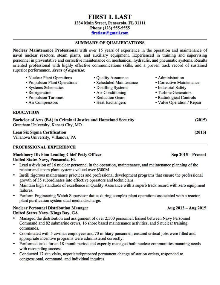 Military Army Resume Examples