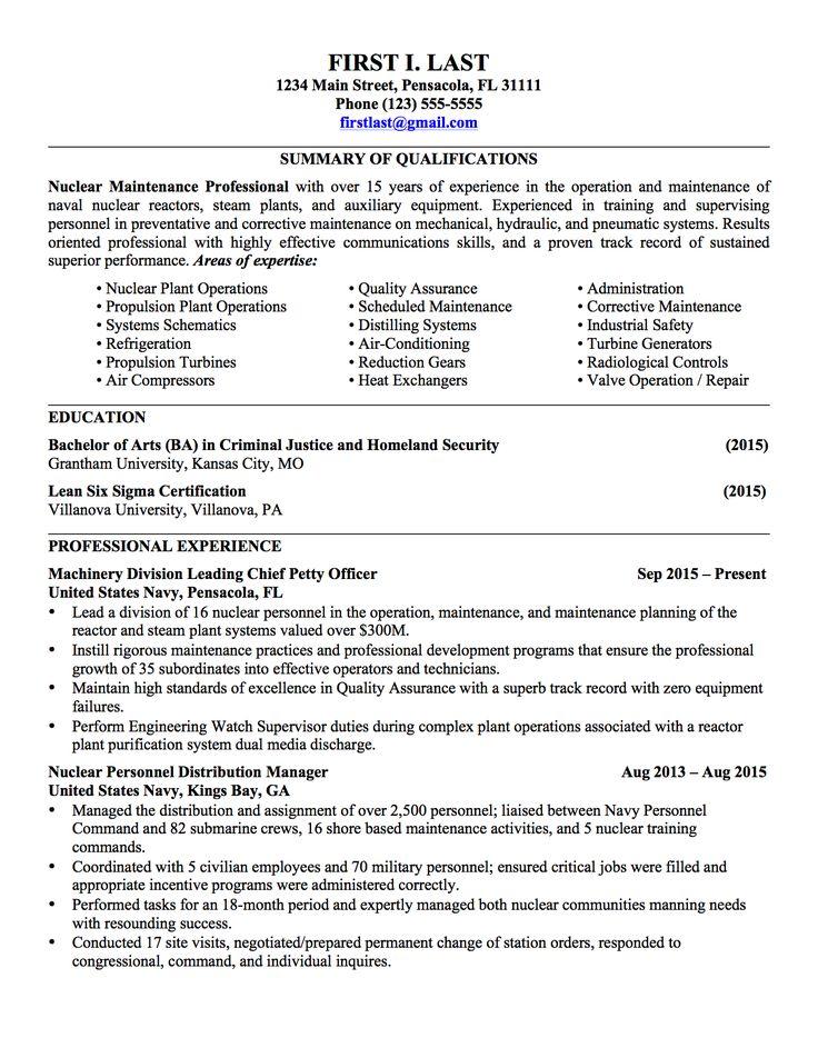 sample military resume cover letter
