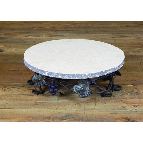 wrought iron marble boulder lazy susan