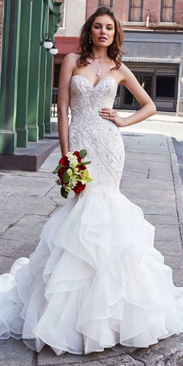 86e6202562e7 Exquisite Organza Sweetheart Neckline Mermaid Wedding Dress With Beaded  Embroidery & Ruffles